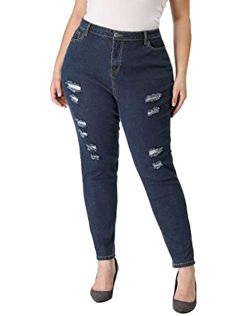 5a50020b876 Agnes Orinda Women s Plus Size Zip Fly Mid Rise Skinny Ripped Jeans 1X Blue