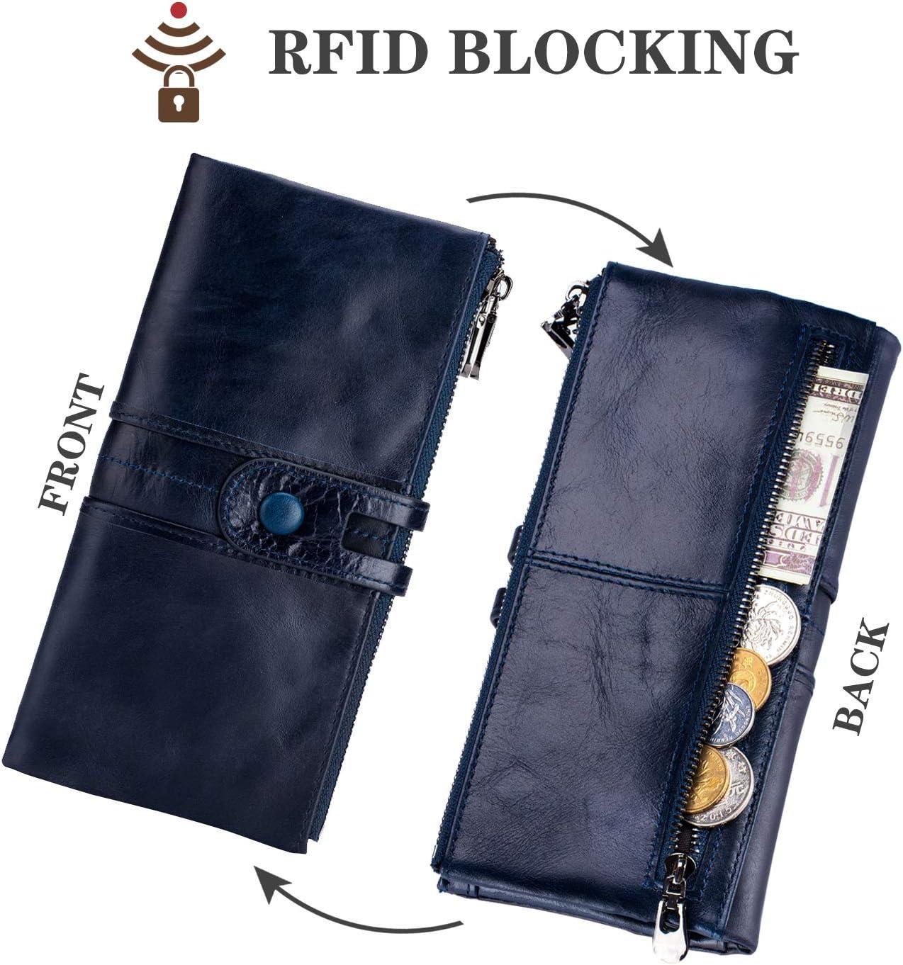 blu navy con cerniera sottile grande capacit/à porta carte con RFID multifunzione ROULENS Portafogli da donna in vera pelle