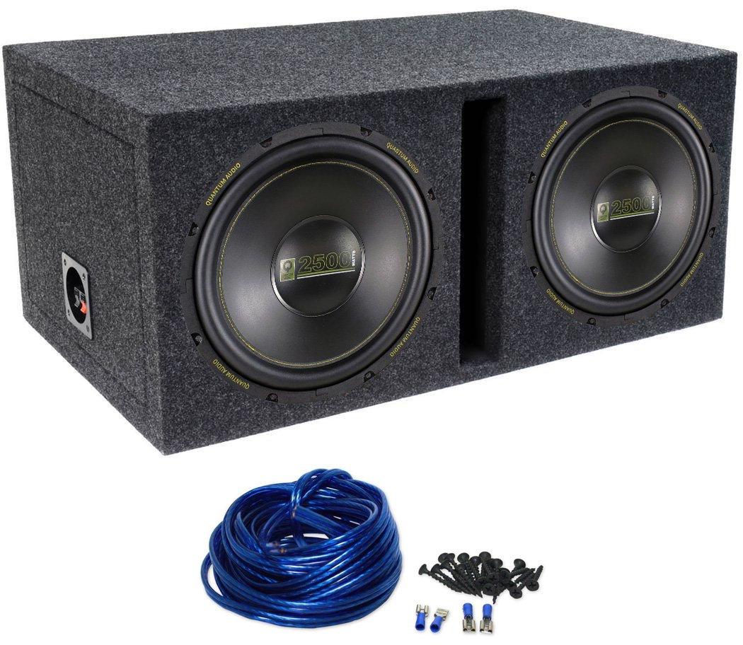 2 Quantum Audio Qaw12d2 12 5000w Car Subwoofers Dual Wiring Subwoofer Box Vented Sub Enclosure Electronics