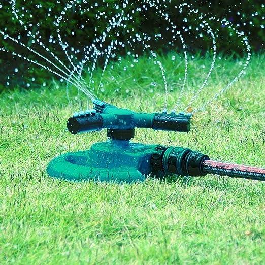 TrendingTemple Aspersor de jardín, aspersor automático de Agua de césped 360 Grados, Sistema de rociadores Giratorio de 3 Brazos by: Amazon.es: Jardín