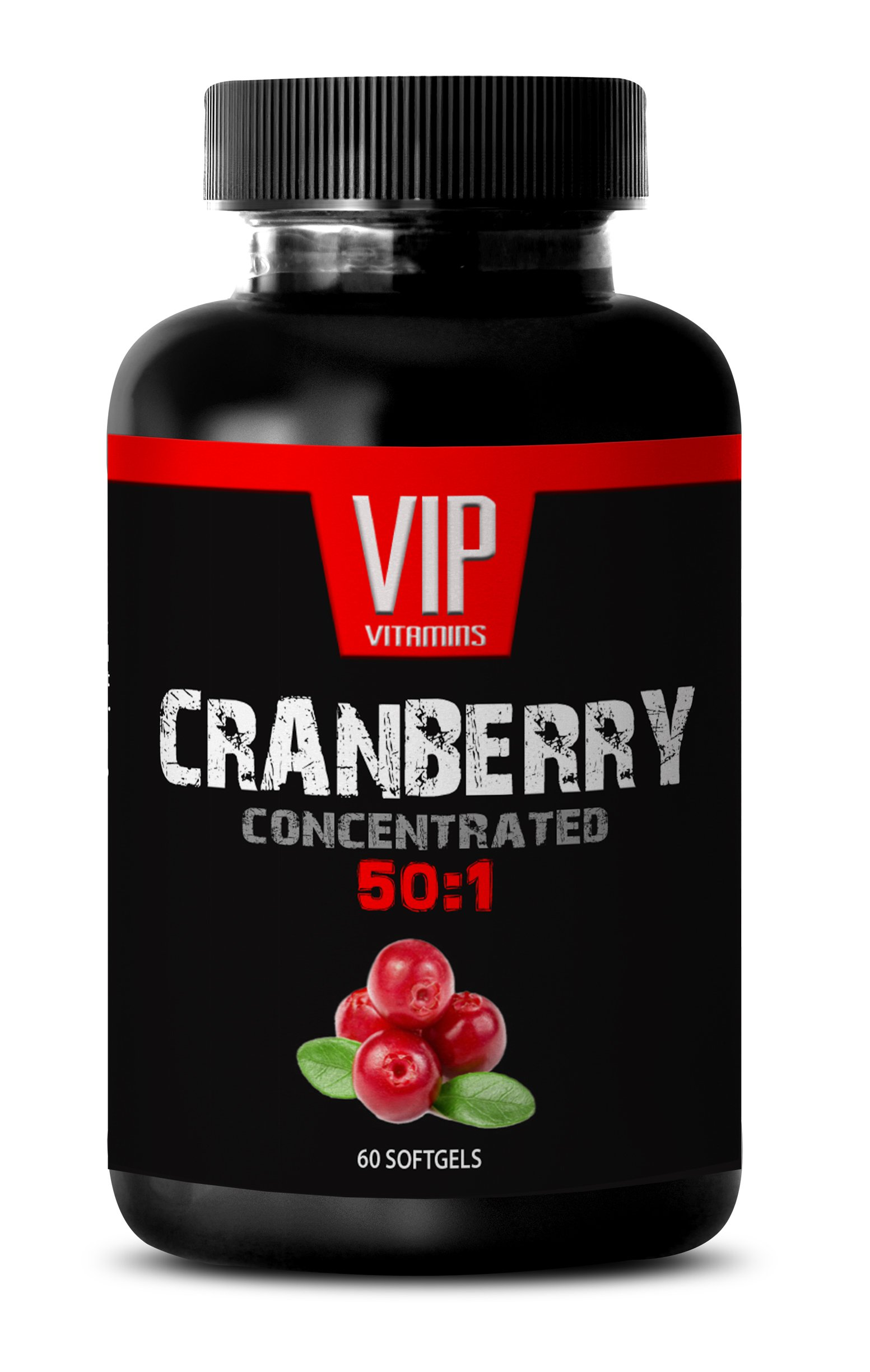 VIP VITAMINS Urinary support - CRANBERRY CONCENTRATED EXTRACT 252Mg 50: 1 - Cranberry maximum strength urinary tract support - 1 Bottle 60 softgels