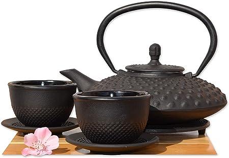 Cups Trivet /& Tetsubin Japanese Style Cast Iron Black Big Hobnail Tea Pot Kettle 0.8L Leaf Coasters