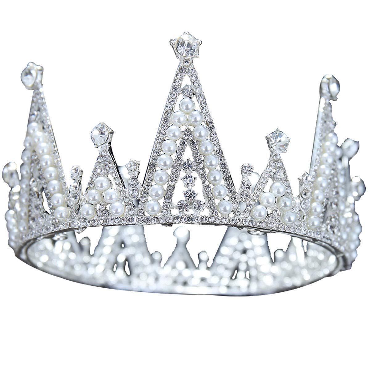 Wedding Crown, Beautiful headdress/Bridal Baroque Crystal Queen Crown Wedding Headwear Photo Studio Wedding Dress Pearl Jewelry by Junson (Image #1)
