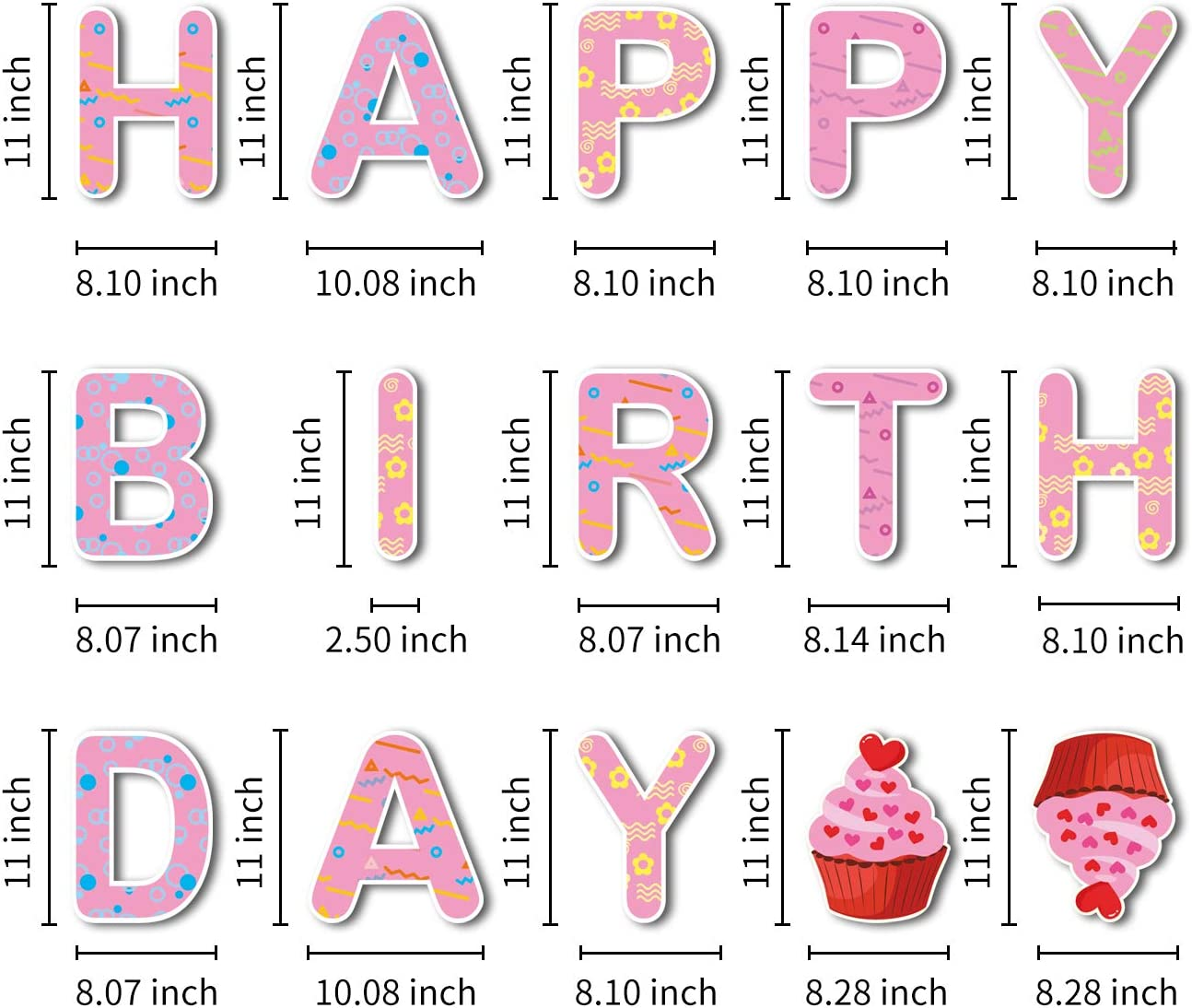 Perfect Outdoor Lawn Decorations with Bright /& Colorful Letters Made of Thick Weatherproof Corrugated Board and 30 Stakes GOKKCL 15 Packs Happy Birthday Yard Sign with Stakes