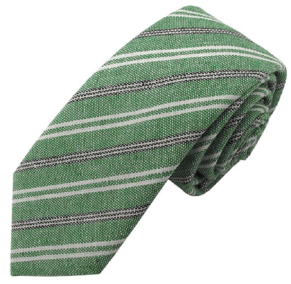 Boys Green Ellison Variegated Linen-Cotton Prep Tie