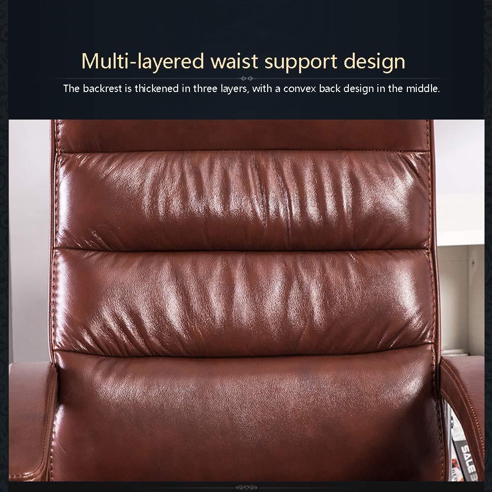 JIEER-C stol datorstol ergonomisk datorstol inbyggd vårsätesväska högrygg PU-läder skrivbordsstol rosett fot verkställande datorstol för kontor mötesrum, brun svart