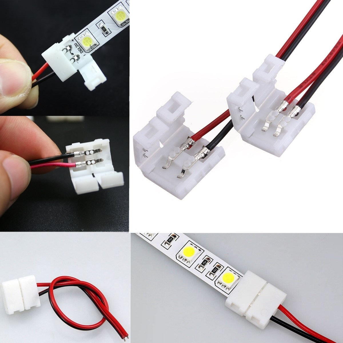10xNew 2-Pins Connector For Led Strip Wire 3528/5050 With PCB Ribbon