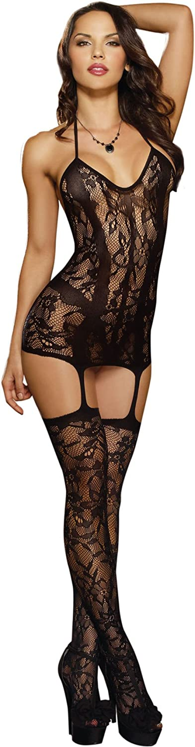 Dreamgirl Women's Trinidad Halter Garter Dress with Attached Stockings: Adult Exotic Lingerie Sets: Clothing