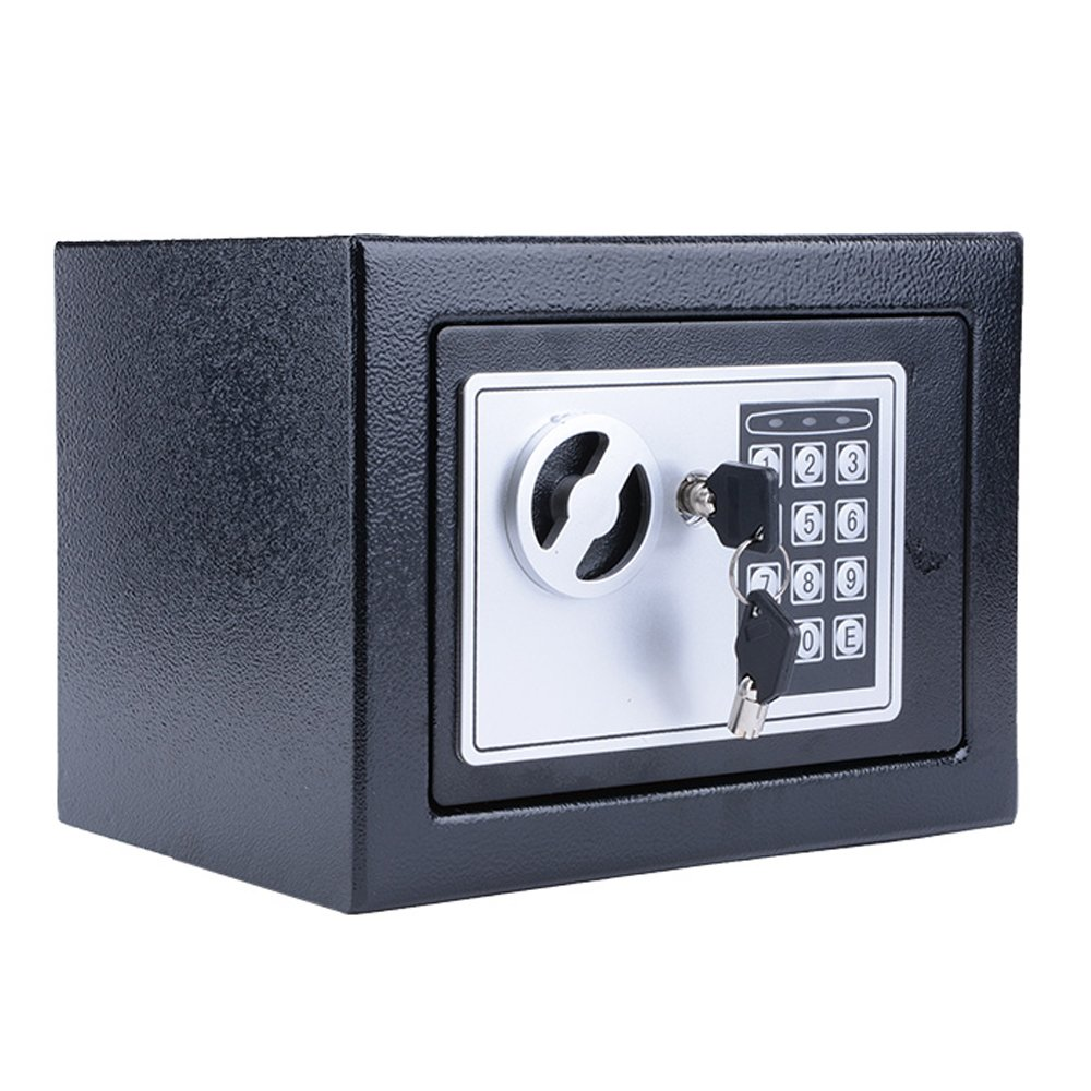 Miageek [US Stock] Security Safes 8.9x6.9x6.3 inches Home Office Hotel Digital Electronic Safe Box Wall Cabinet Hidden Key Lock Safes for Jewelry Cash Gun Document Steel Alloy Drop Safe (Black1)