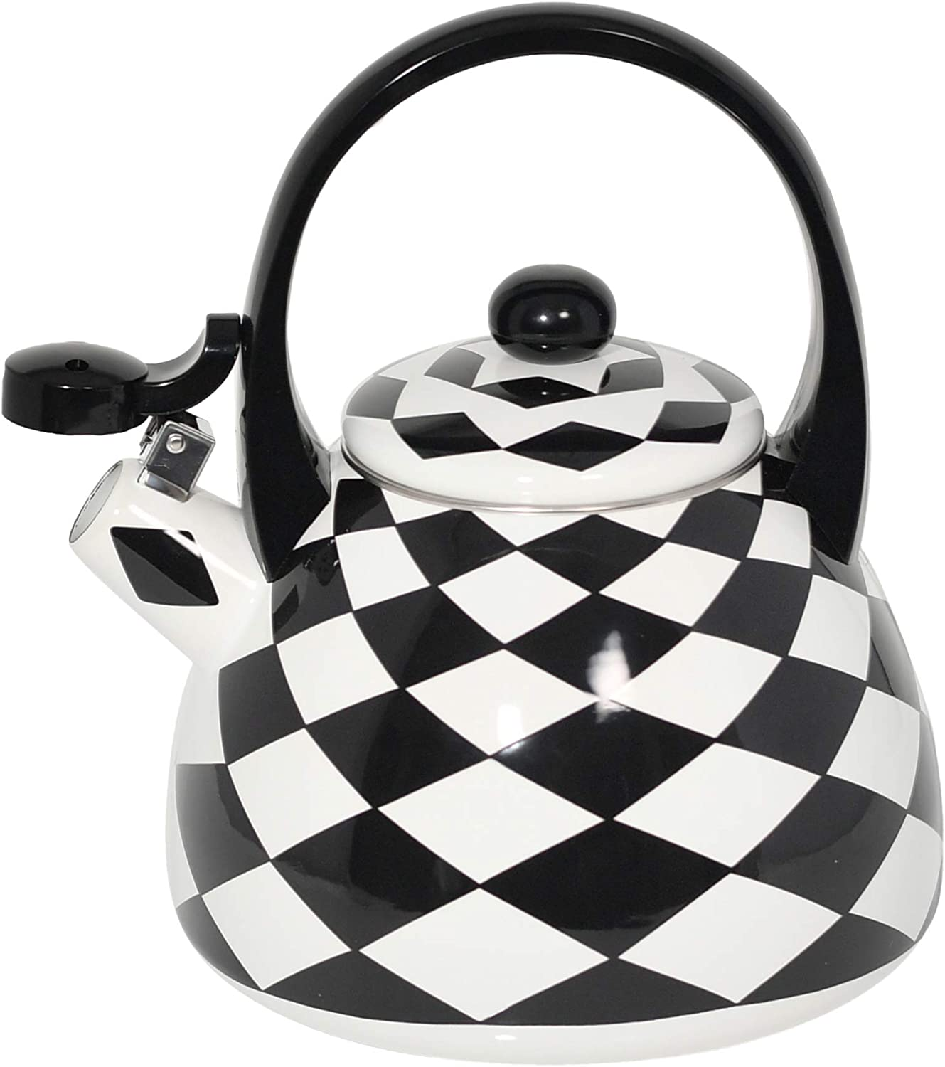 Amazon Com Home X Black Checkered Whistling Tea Kettle Cute Animal Teapot Kitchen Accessories And Decor Dining