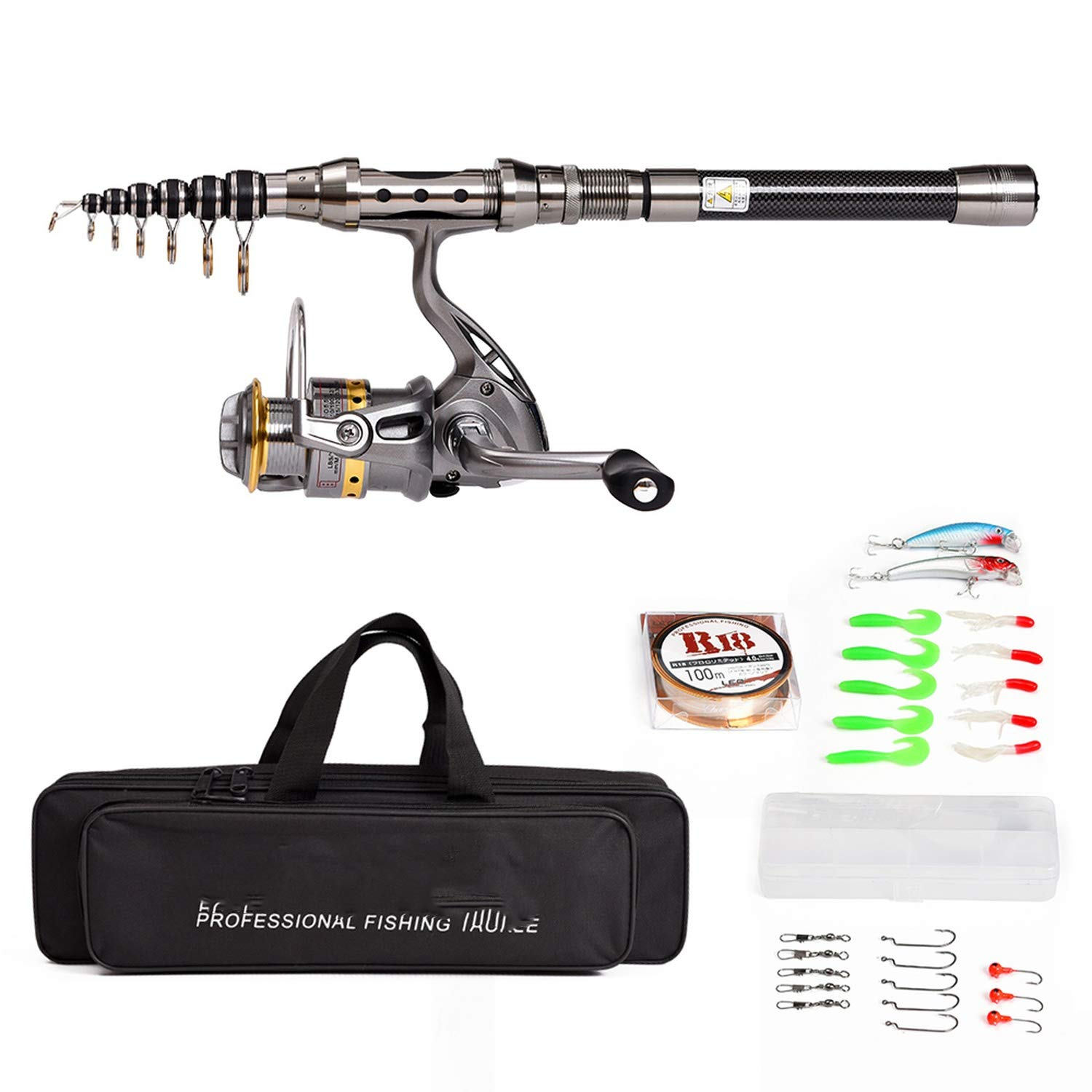 White 2 1 m Telescopic Fishing Rods Reel Combo 100M Fishing Line Lures Hooks Jig Head Bag Accessories Full Kit Spinning Fish Pole Set