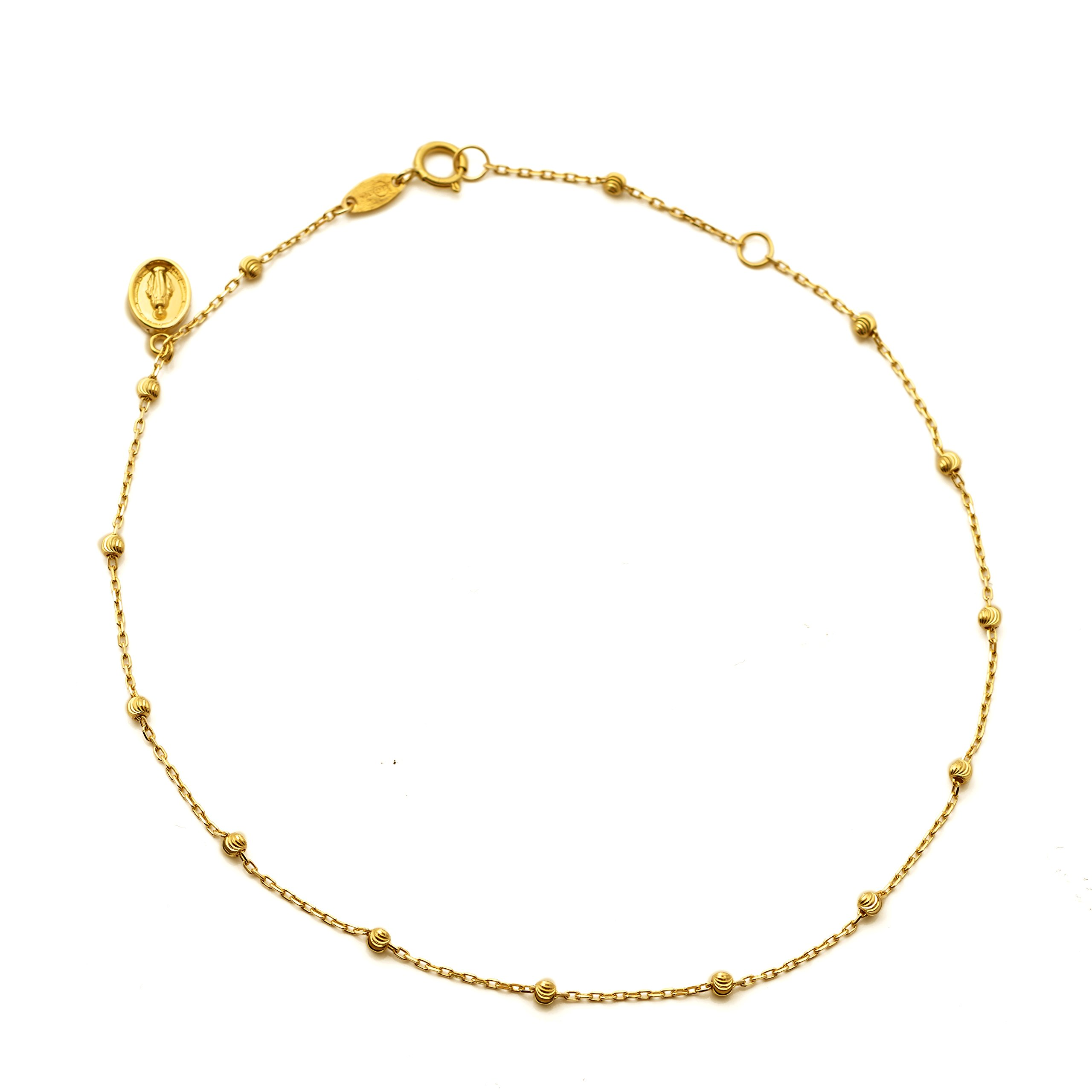 LoveBling 10K Yellow Gold .50mm Diamond Cut Rolo Chain with a Virgin Mary Charm & Beads Anklet Adjustable 9'' to 10'' (#51)