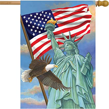 Briarwood Lane Symbols Of Freedom Patriotic House Flag Statue Of Liberty Eagle 28 X 40 Garden Outdoor