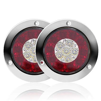 LITTOU luces traseras redondas LED para camión con anillos ...