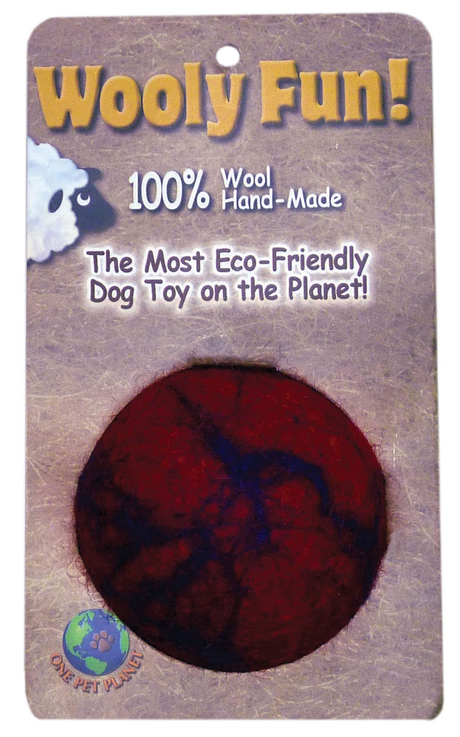 One Pet Planet 86079 2.75-Inch Wooly Fun Ball Dog Toy