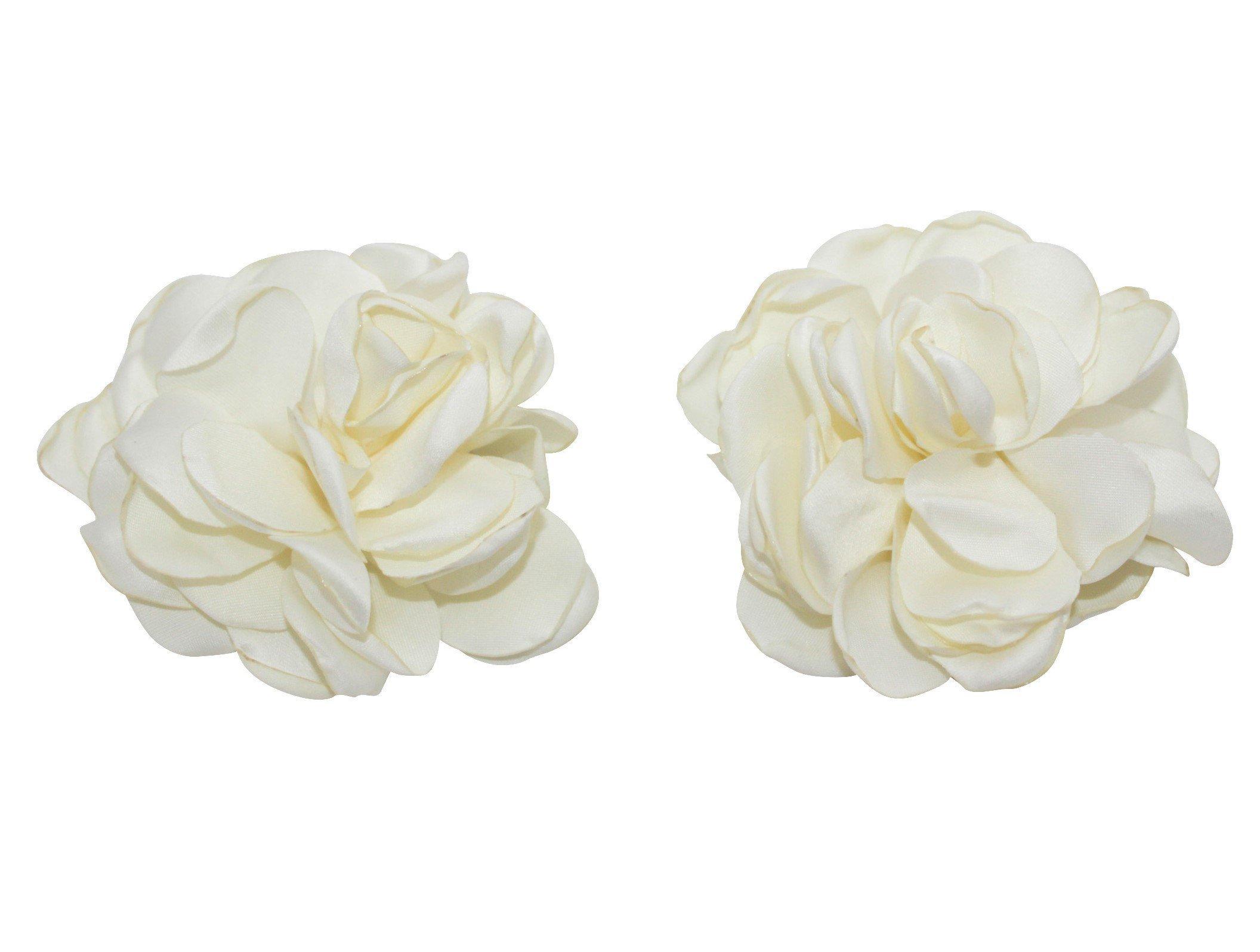 Ivory Rose Petals Flowers Alligator Hair Clips 2 pack