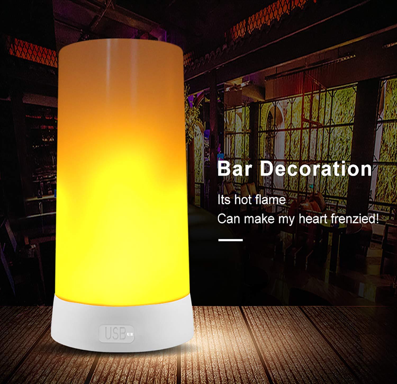 Sahgsa LED Flamme Wirkung Licht 3 modi TischleuchteWasserdichtes Flicker Flame Light f/ür Heim//Hotel//Bardekoration
