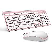 Mouse teclado sem fio, teclado e mouse de computador sem fio fino 2,4 G, ergonômico, compacto, tamanho completo perfeito…