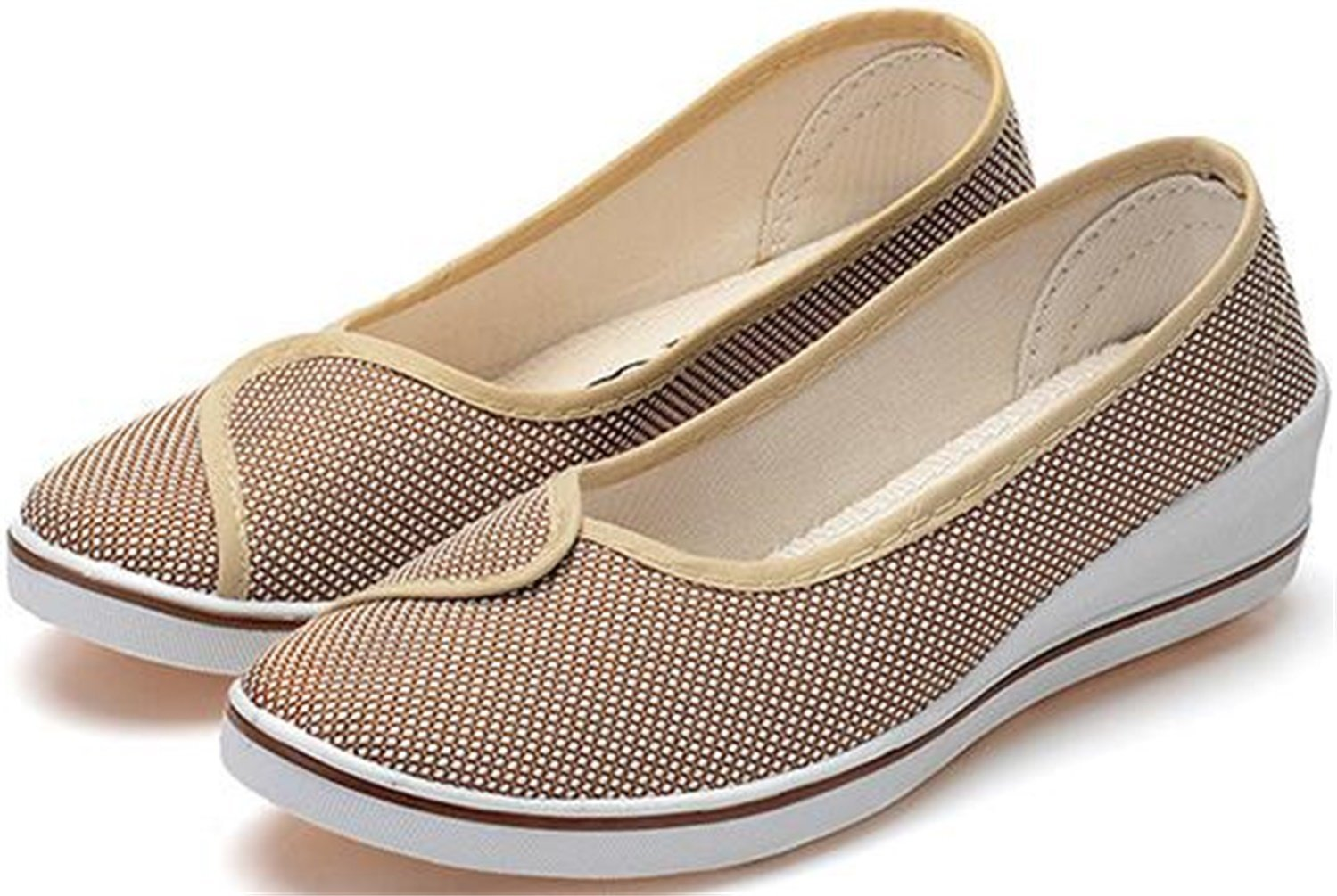 PPXID Women's Canvas Wedge Slip On Loafers Dancing Shoes-Beige 7.5 US Size by PPXID (Image #3)