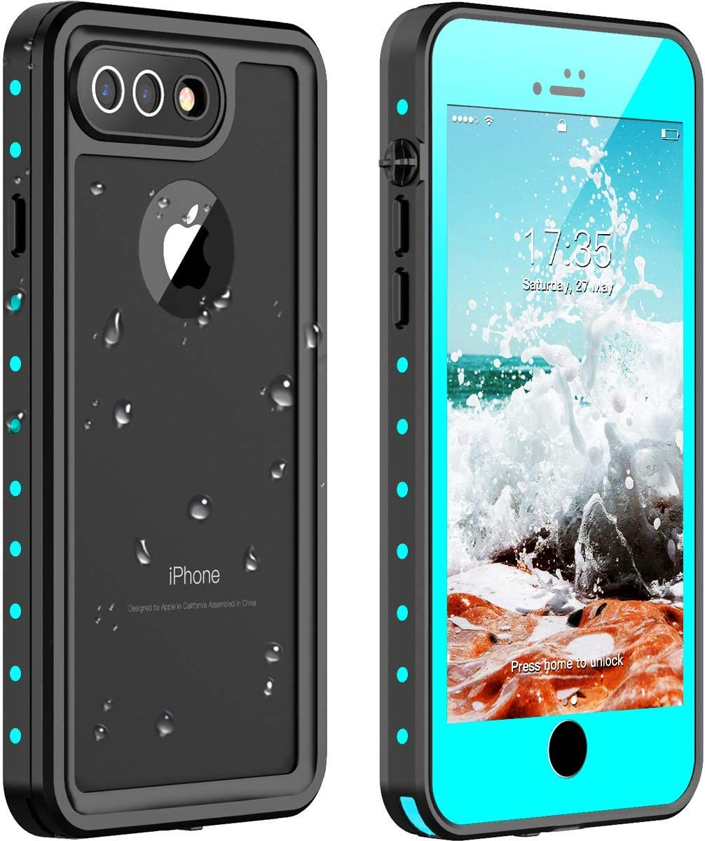 Nineasy iPhone 7 Plus Waterproof Case iPhone 8 Plus Waterproof Case, iPhone 7 Plus/8 Plus Case Full Body Protection with Built in Screen Protector Shockproof Case for iPhone 7 Plus/8 Plus(5.5') Blue