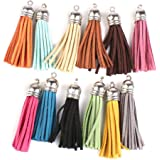 Pixnor Craft Tassel 12pcs Multi-Colors Tassel Pendants Leather Tassel