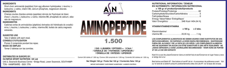 ASN AMINO PEPTIDE - 1500mg - 350 comp.: Amazon.es: Salud y cuidado personal