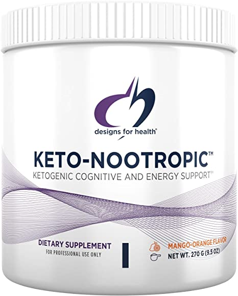 Designs for Health Keto-Nootropic - Exogenous Ketones Powder Supplement for Energy, Focus + Cognitive Support - Exo Ketone BhB - Delicious Mango Nectarine Flavor, Keto Drink Mix (15 Servings / 270g)
