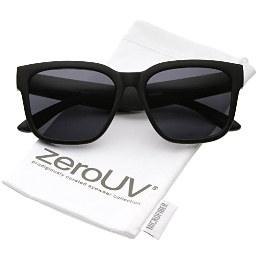 cf0d4a2cd05 zeroUV - Classic Wide Arms Neutral Colored Square Lens Horn Rimmed  Sunglasses 55mm (Matte Black