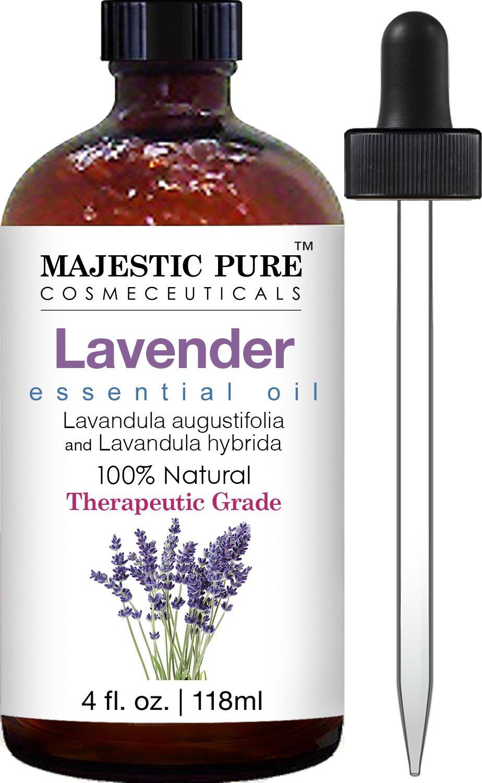 Majestic Pure Lavender Oil, Natural, Therapeutic Grade, Premium Quality Blend of Lavender Essential Oil, 4 fl. Oz