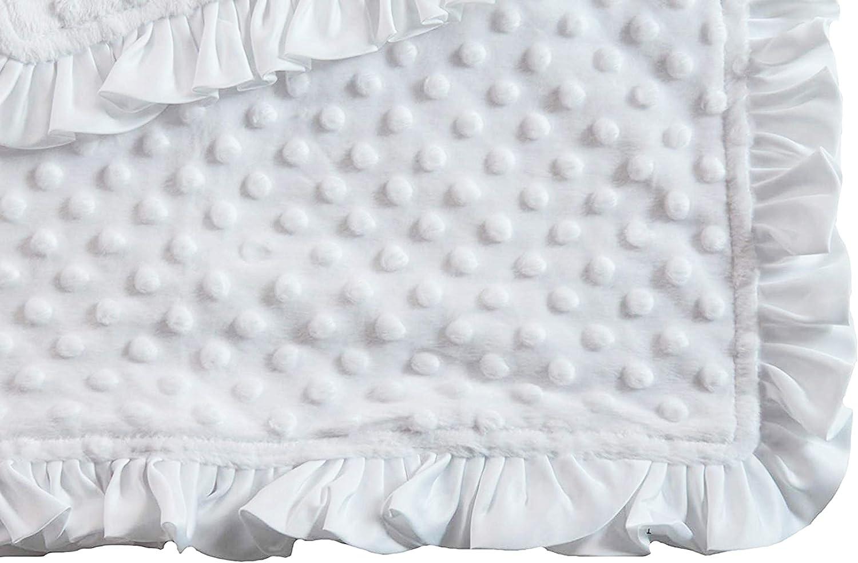 White /& Black Cow MinkyBlack Minky Velvet with Pink Satin Ruffle Minky Blanket with Satin Ruffle