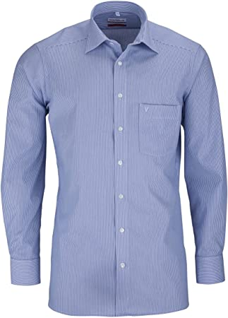 Camisa de manga larga de Marvelis, de corte moderno, de 64 cm, con cuello New Kent y manguitos depor