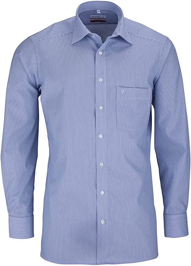 Marvelis - Camisa casual - Rayas - Clásico - Manga Larga - para hombre