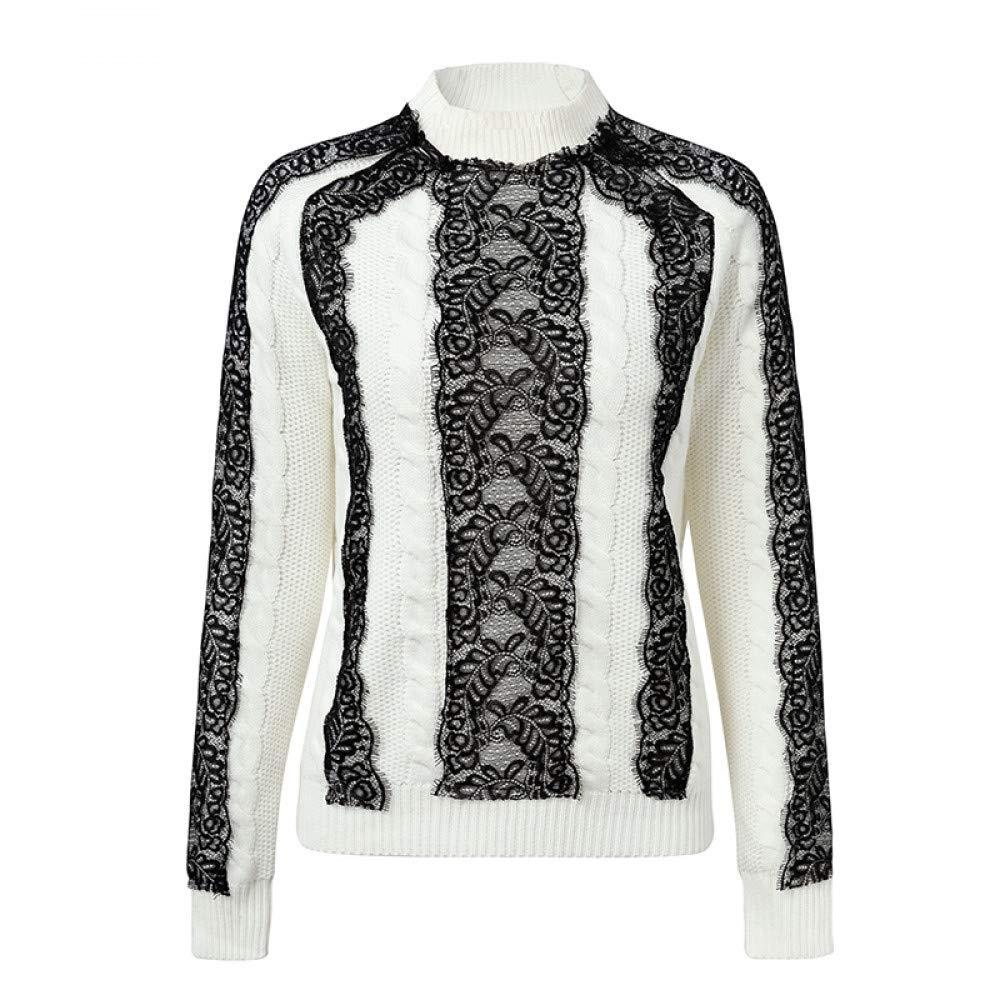 FUHENGMY Pullover Elegante Spitze Gespleißt Weißen Pullover Pullover Winter Lässig Langarm Strickpullover   Herbst Pullover Frauen Pullover