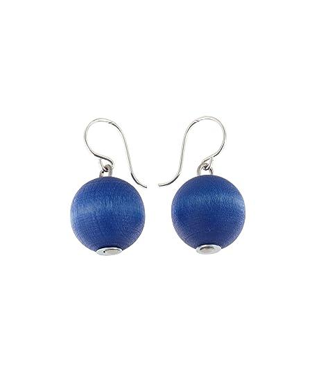 aarikka KARPALO Ohrhänger mit Holzperle, 14 mm Durchmesser, blau