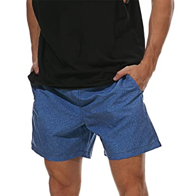 c72a74245b WENER Men's Sports Runnning Swim Board Shorts Quick Dry Short Swim Trunks  (Denim Blue,