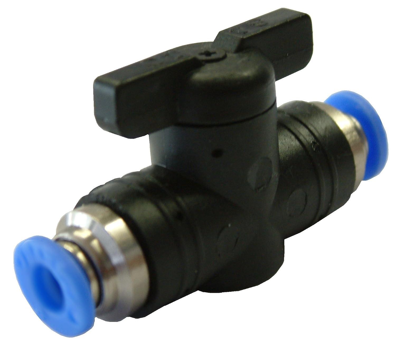 Absperrhahn mit 8mm Steckanschuss - Steckverbinder - Pneumatikverbinder - PUSH IN Absperrhähne mit Steckanschluss