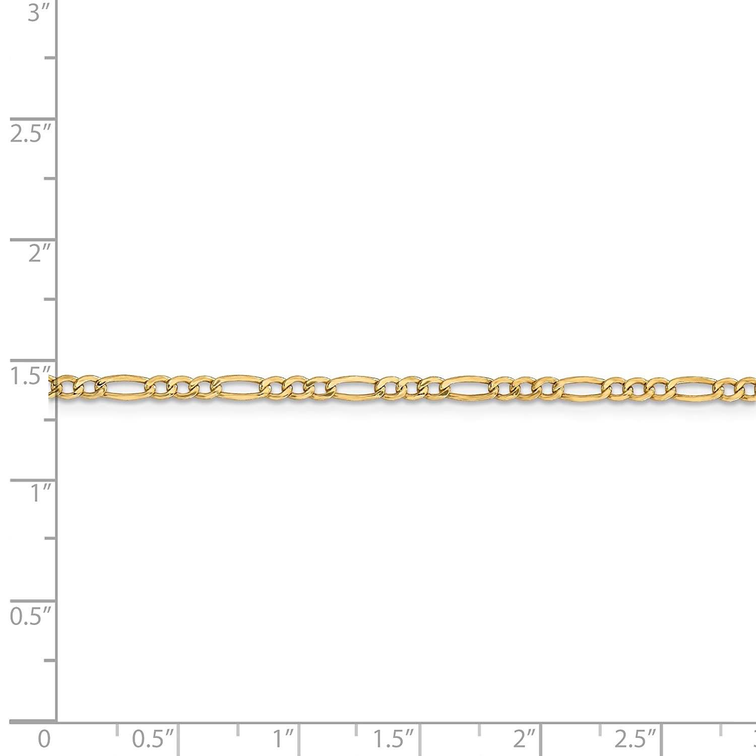 14k Yellow Gold 10in Solid Lightweight Figaro Anklet Chain