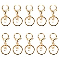 10 Pcs Swivel Lobster Clasps Keychains Metal Keyring Clips Key Holder Split Rings Keychain Snap Clip Hooks for Keys…