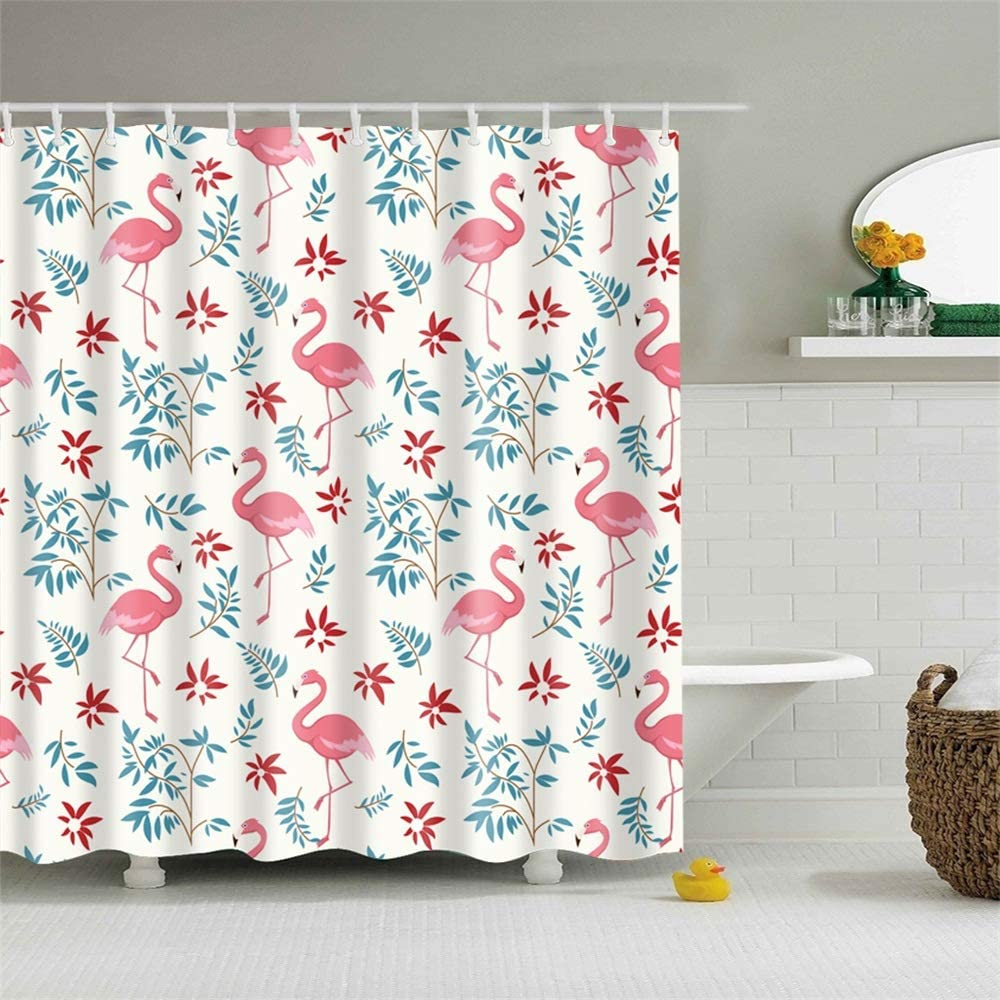 Yinhua Shower Curtain Set with Hook Beautiful Pink Flamingos Green Tropical Leaves Red Florals Tropical Birds Love Bathroom Decor Waterproof Polyester Fabric Bathroom Accessories Bath Curtain
