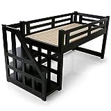 LOWYA (ロウヤ) ロフトベッド 木製 天然木 階段 左右対応 宮 宮棚 北欧パイン材 システムベッド すのこ おしゃれ 新生活