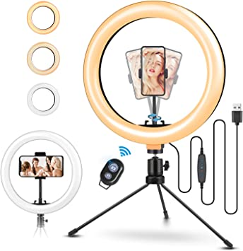 Led Ring Light with Remote Ringlight Dimmable for Live Stream Makeup YouTube Tiktok Photography Compatible with iPhone Android ELEGIANT 10 Selfie Ring Light with Tripod Stand /& Cell Phone Holder
