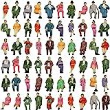 P87S-60 人形 人物 人々 人間 人間フィギュア 塗装人 情景コレクション ザ ・ 鉄道模型・ジオラマ・建築模型・電車模型に 17㎜ スケール:1/87 60個セット