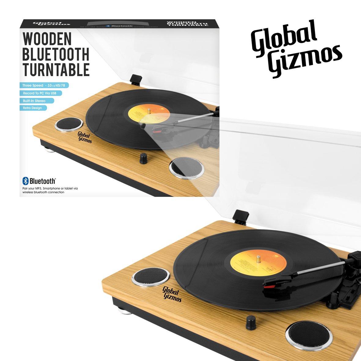 Global Gizmos 40410 - Tocadiscos portátil con Bluetooth, diseño ...