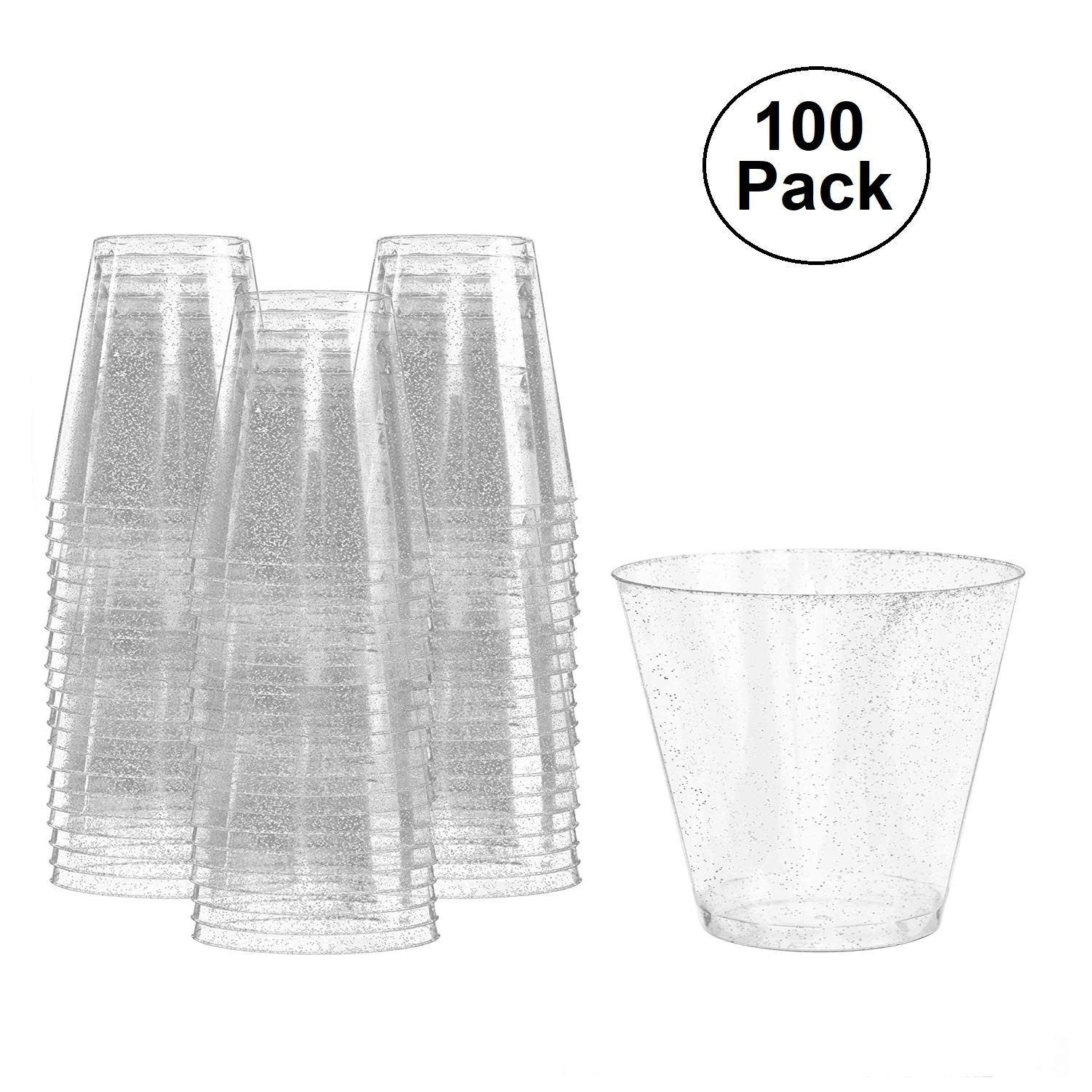 Eco Disposable Cups, 9 oz Plastic Cups, 100 Count Glitter Wedding Cups Party Cups (US STOCK) (Silver)