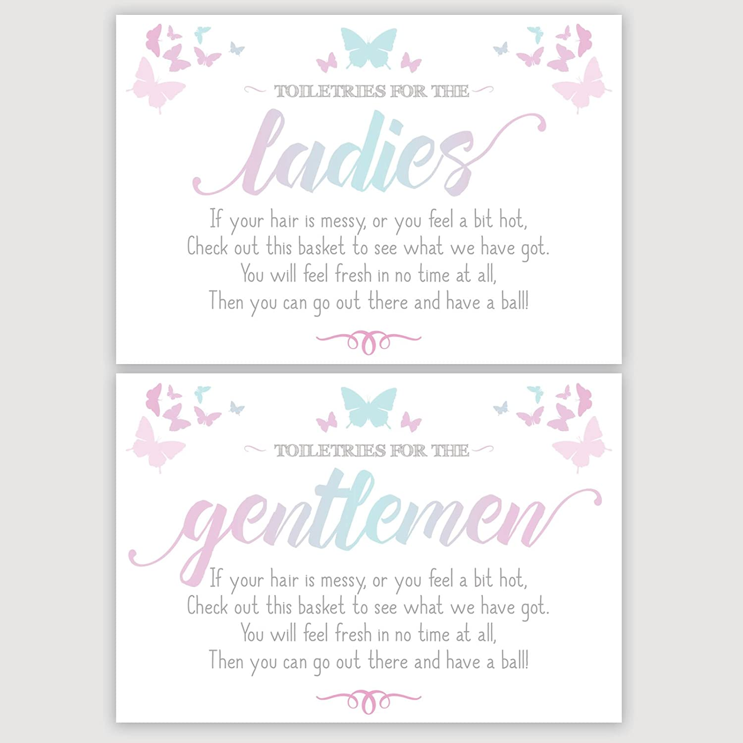 Ladies /& Gents Butterfly Signs For Wedding Toiletry Bathroom Basket Available In A Range Of Pastel /& Bold Colours Blue /& Pink OM8//9