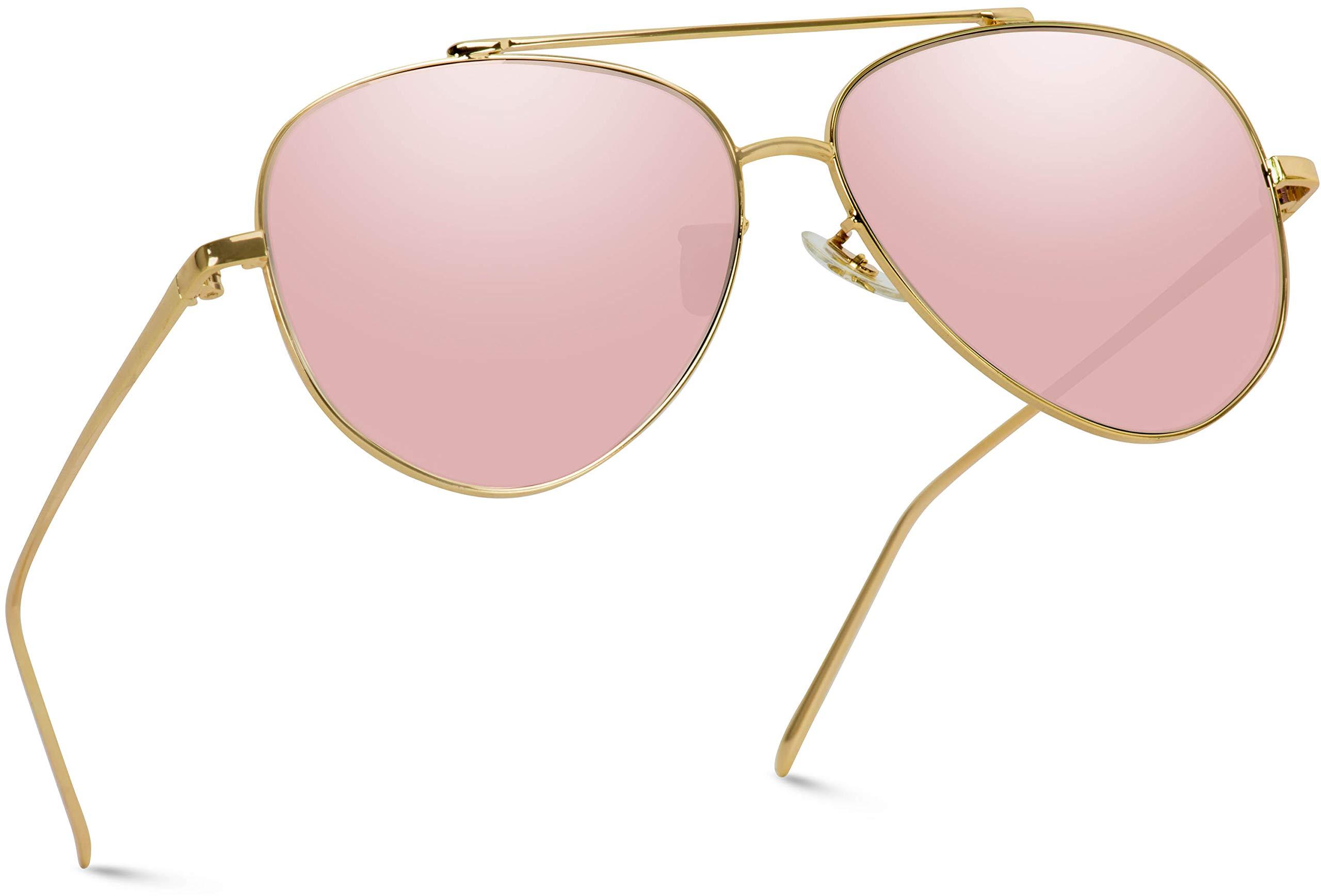 WearMe Pro - Flat Lens Mirrored Metal Frame Aviator Sunglasses by WearMe Pro