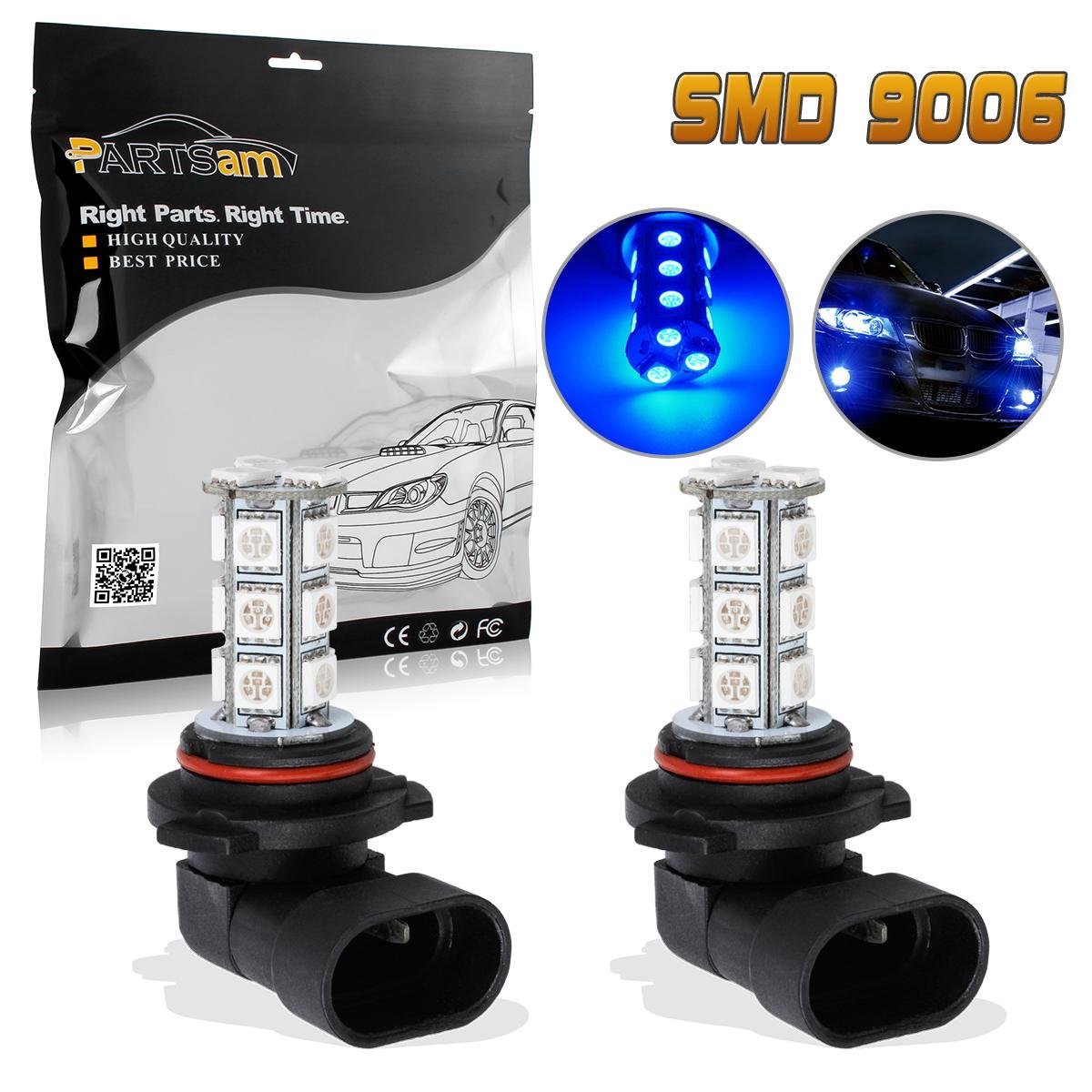 Partsam 2pcs Bright Blue HB4 9006 9006XS Fog Driving Daytime Running Light 18-5050-SMD DRL LED Bulb Replacement for Infiniti Compatible with Hyundai//Chrysler//Mercedes-Benz//BMW//Lexus//Mazda//Dodge