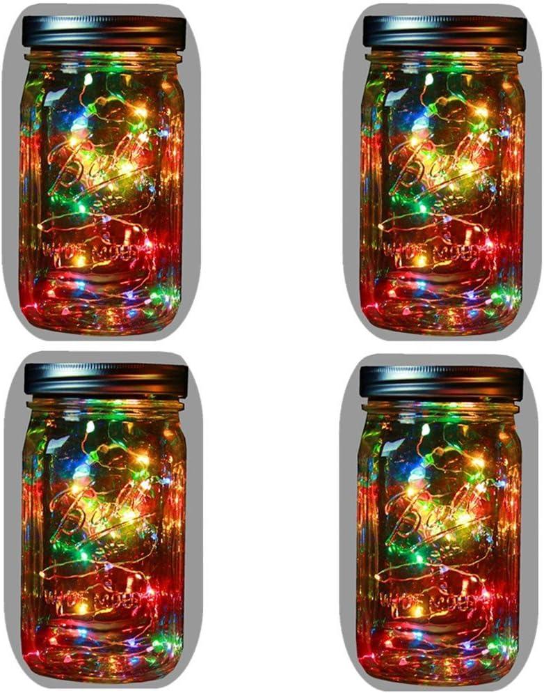 4-Pack Solar Powered Mason Jar Lights (Mason Jar & Handle Included),5 Colors 10 Bulbs Jar Hanging Light,Garden Outdoor Solar Lanterns,Hanging Lantern,Mason Jar Decor Solar Light,Table Light,Patio Path