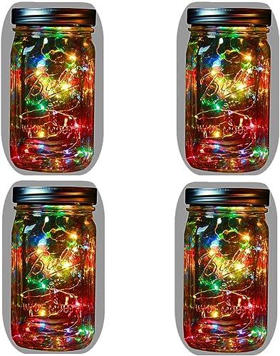 4-Pack Solar Powered Mason Jar Lights Mason Jar Handle Included ,5 Colors 10 Bulbs Jar Hanging Light,Garden Outdoor Solar Lanterns,Hanging Lantern,Mason Jar Decor Solar Light,Table Light,Patio Path