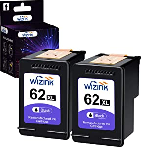 WIZINK Remanufactured 62XL Black Ink Cartridge Replacement for HP 62 62 XL Use for Envy 5540 5640 5660 7644 7645 OfficeJet 5740 8040 200 250 Series Printer ( 2 Black )